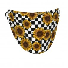 90s Sunflowers Checkerboard Face Masks Washable, Face Covering with Breathable Comfort Loops, Size Fit Small Face, Reusable Polyester, Nose Curved Cover Design to Breath Unisex. 14cm x 24cm