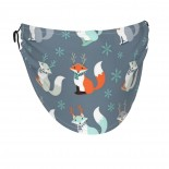 Cute Fox Face Masks Washable, Face Covering with Breathable Comfort Loops, Size Fit Small Face, Reusable Polyester, Nose Curved Cover Design to Breath Unisex. 14cm x 24cm