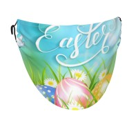Easter Eggs Grass Wildflowers And Butterflies In Spring Face Masks Washable, Face Covering with Breathable Comfort Loops, Size Fit Small Face, Reusable Polyester, Nose Curved Cover Design to Breath Unisex. 14cm x 24cm