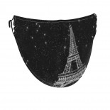 Fantasy Starry Night Paris Eiffel Tower Face Masks Washable, Face Covering with Breathable Comfort Loops, Size Fit Small Face, Reusable Polyester, Nose Curved Cover Design to Breath Unisex. 14cm x 24cm
