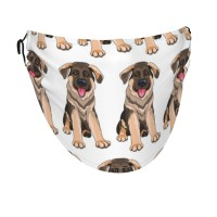 German Shepherd Puppy Dog Face Masks Washable, Face Covering with Breathable Comfort Loops, Size Fit Small Face, Reusable Polyester, Nose Curved Cover Design to Breath Unisex. 14cm x 24cm