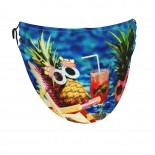 Pineapples In Cheerful Sunglasses Lying Face Masks Washable, Face Covering with Breathable Comfort Loops, Size Fit Small Face, Reusable Polyester, Nose Curved Cover Design to Breath Unisex. 14cm x 24cm