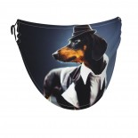 Portrait Of A Dachshund Dog Face Masks Washable, Face Covering with Breathable Comfort Loops, Size Fit Small Face, Reusable Polyester, Nose Curved Cover Design to Breath Unisex. 14cm x 24cm