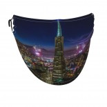 San Francisco At Night Face Masks Washable, Face Covering with Breathable Comfort Loops, Size Fit Small Face, Reusable Polyester, Nose Curved Cover Design to Breath Unisex. 14cm x 24cm