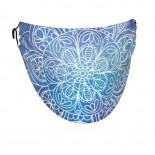 Sketches-mandala On Blue Watercolor Face Masks Washable, Face Covering with Breathable Comfort Loops, Size Fit Small Face, Reusable Polyester, Nose Curved Cover Design to Breath Unisex. 14cm x 24cm