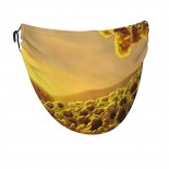 Sunflowers On The Hills Face Masks Washable, Face Covering with Breathable Comfort Loops, Size Fit Small Face, Reusable Polyester, Nose Curved Cover Design to Breath Unisex. 14cm x 24cm