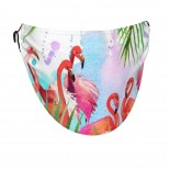 Tropical Exotic Bird Leave Flamingo Face Masks Washable, Face Covering with Breathable Comfort Loops, Size Fit Small Face, Reusable Polyester, Nose Curved Cover Design to Breath Unisex. 14cm x 24cm