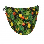 Tropical Leaves Citrus Fruits Face Masks Washable, Face Covering with Breathable Comfort Loops, Size Fit Small Face, Reusable Polyester, Nose Curved Cover Design to Breath Unisex. 14cm x 24cm