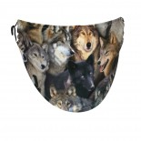 Wolf Pattern Face Masks Washable, Face Covering with Breathable Comfort Loops, Size Fit Small Face, Reusable Polyester, Nose Curved Cover Design to Breath Unisex. 14cm x 24cm